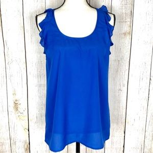 Urban Outfitters Pins And Needles Blue Ruffle Tank